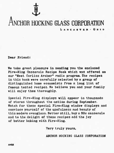 anchor hocking cover letter for fire king cookbook